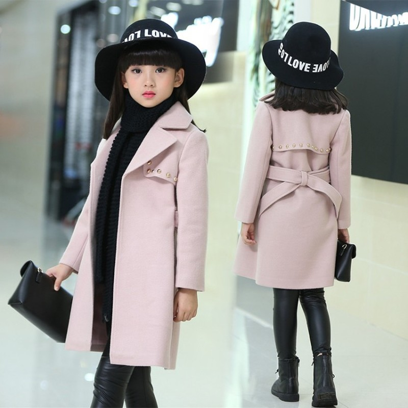 Toddler Long Wool Coat Kids Winter Jackets For Girls Snowsuit Baby Jackets Girls Blends 4-16Y Thick Girl Coats Children Clothes