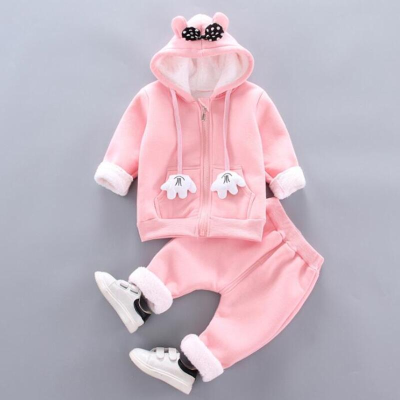 Thick Warm Girls Clothing Set Winter Plush Cotton Outfit For Baby Hoodies Jacket Pants Kids Casual Suit Toddler Boy Wearing 1