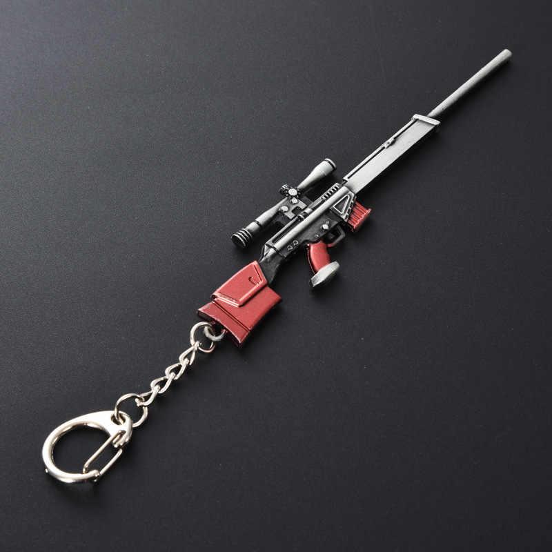 2020 sıcak PUBG CS gitmek silah anahtarlık AK47 silah modeli 98K keskin nişancı tüfeği anahtar zincirleri erkekler için hediyeler hediyelik eşya anahtarlık halkası 12CM