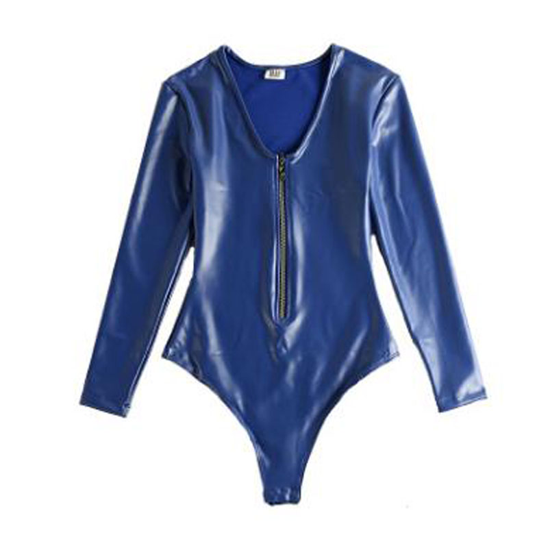 XXL Plus Size Long Sleeve Bodysuit Latex PU Leather Catsuit Hot Sexy High Cut Body Sculpting One Piece Under Shirt Teddies Suit