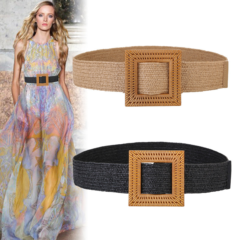 Waist Belt Straw Braided Smooth-Buckle Woven Wooded Boho Vintage Summer Round  title=