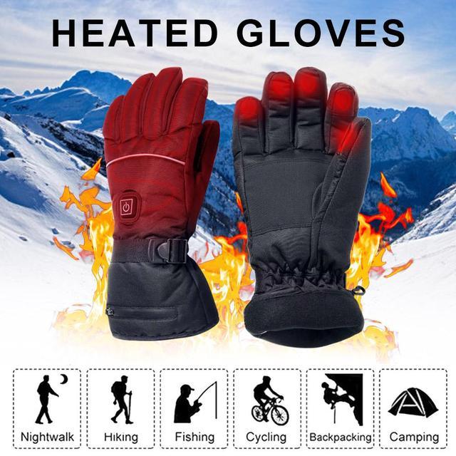 חשמלי מחומם כפפות עם טמפרטורת התאמת ליתיום סוללות כפפות סקי טיולים טיפוס נהיגה קר מזג אוויר