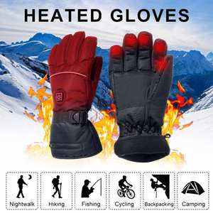 Heated-Gloves Driving Skiing Electric Hiking with Temperature-Adjustment for Climbing