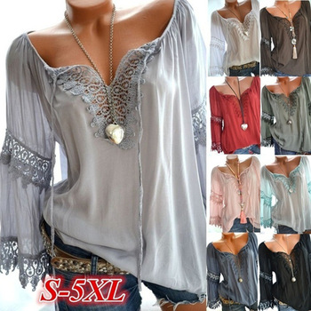Blusa holgada informal con manga larga para verano, camisa de encaje con cuello en V para mujer, 2021 1