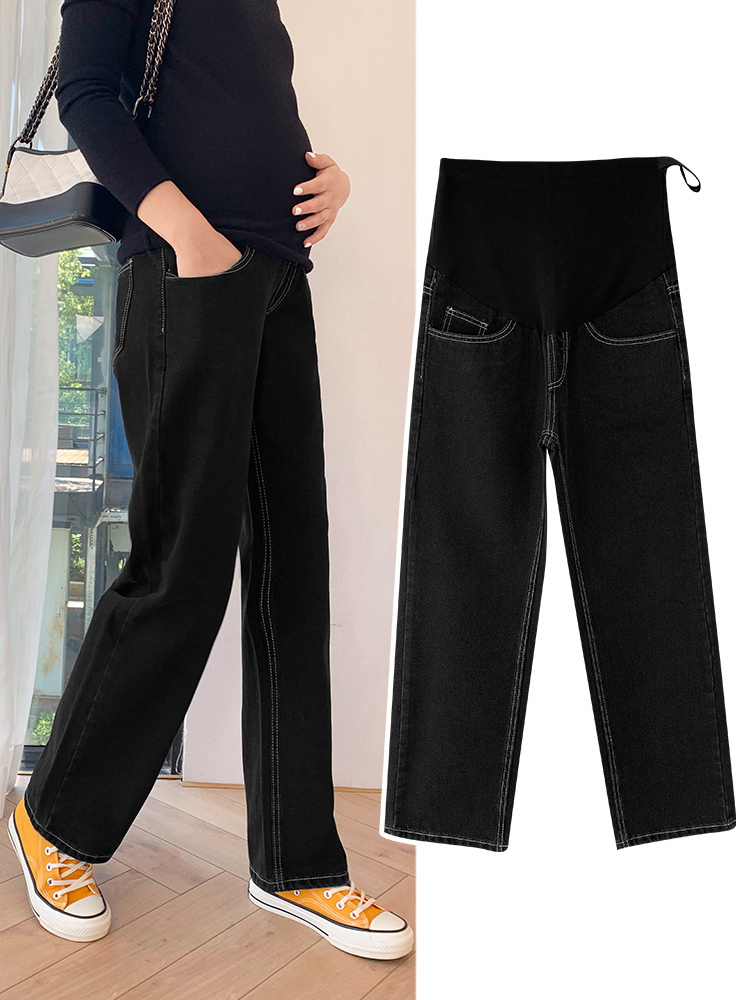Spring And Autumn Pregnant Women's Wide-Legged Trousers Straigh Loose Maternity Jeans Adjustable High Waist