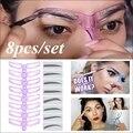 8PCS Eyebrow Shaper Makeup Template Eyebrow Grooming Shaping Stencil Kit DIY Eyebrow Template Reusable 8 in1 Eyebrow Shaping