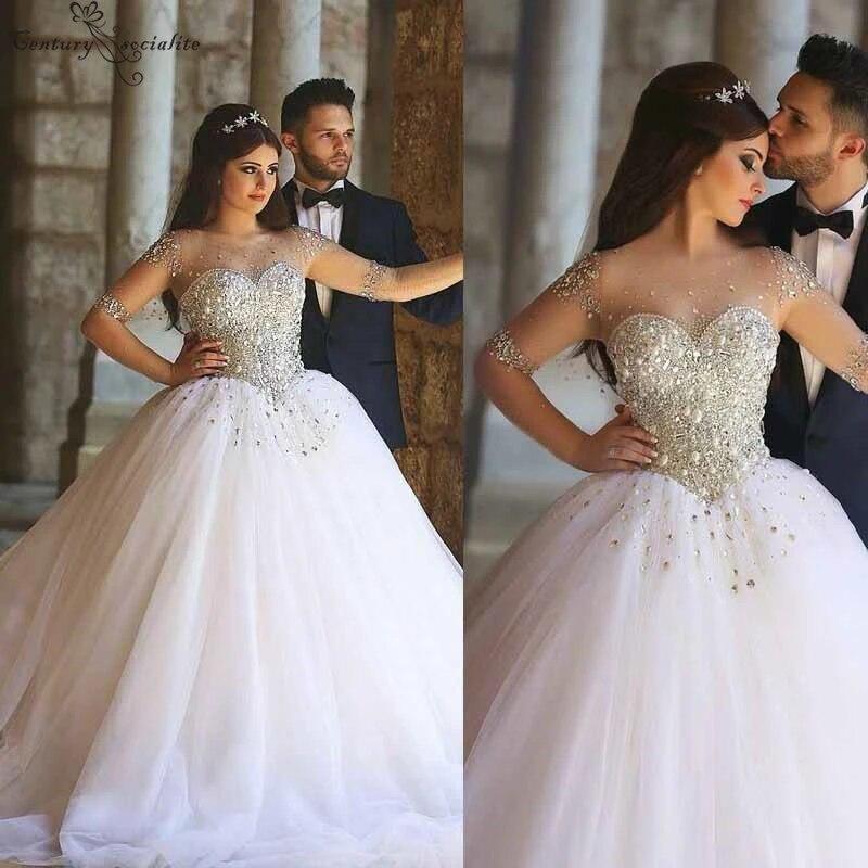 Ball Gown Princess Wedding Dresses 2020 Crystal Beaded Corset Back Long Sleeves Luxury Bride Dress Bridal Gowns Vestido De Noiva Wedding Dresses Aliexpress
