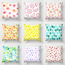 Single-sided Printing Polyester Cushion Cover Fruits Orange Watermelon Flower Green Geometry Decorative Pillow Case for Car Sofa