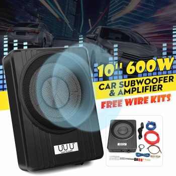 10 600W Active Car Subwoofer Audio Speakers Amplifier Ultra thin Subwoofer Bass Amplifier Auto Surround Sound Car Audio System
