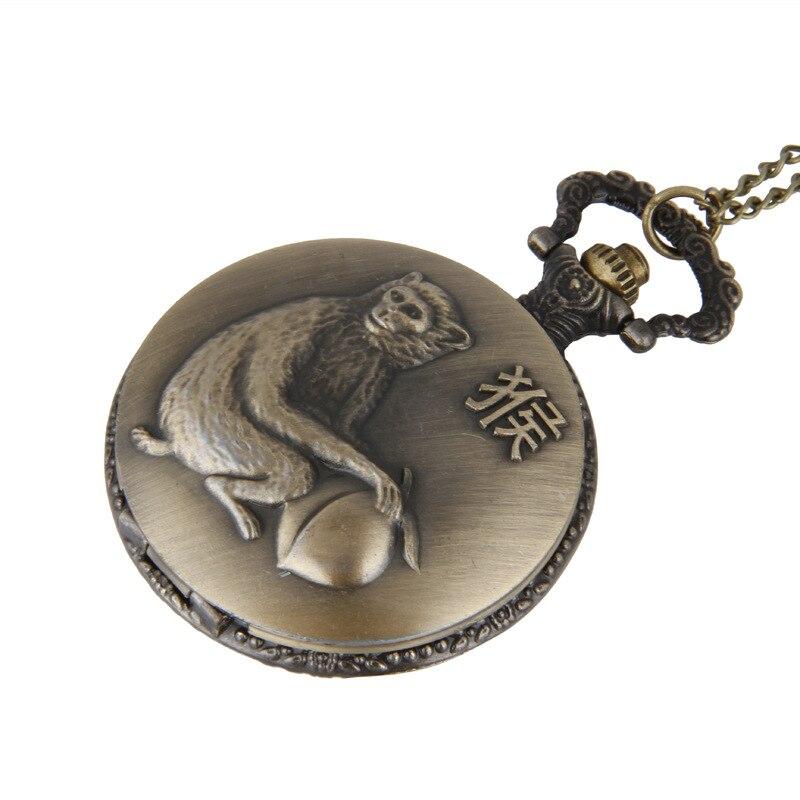 Clamshell Vintage Queen Monkey Zodiac Pocket Watch 12 Zodiac Pocket Watch