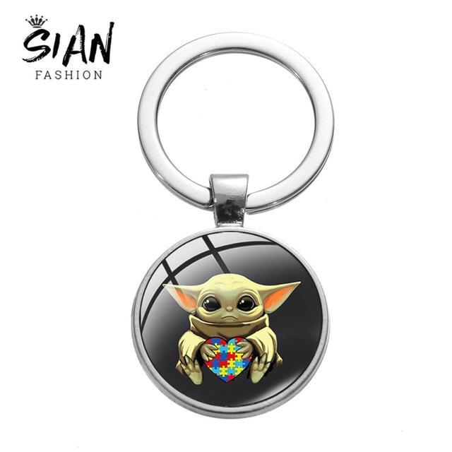 SIAN Adorable Baby Yoda autyzm Jigsaw kształt brelok Mandalorian piękny film plakat szklany breloczek zabawka dla dzieci kreskówka biżuteria