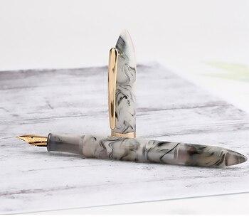 Nowy Księżycowego Człeka Z żywicy Akrylowej Pióro Wieczne Iridium EF/F 0.38/0.5mm Krainie Czarów Szary Atrament Do Pisania Długopisy Złoty Wykończenia Z Pudełko Zestaw