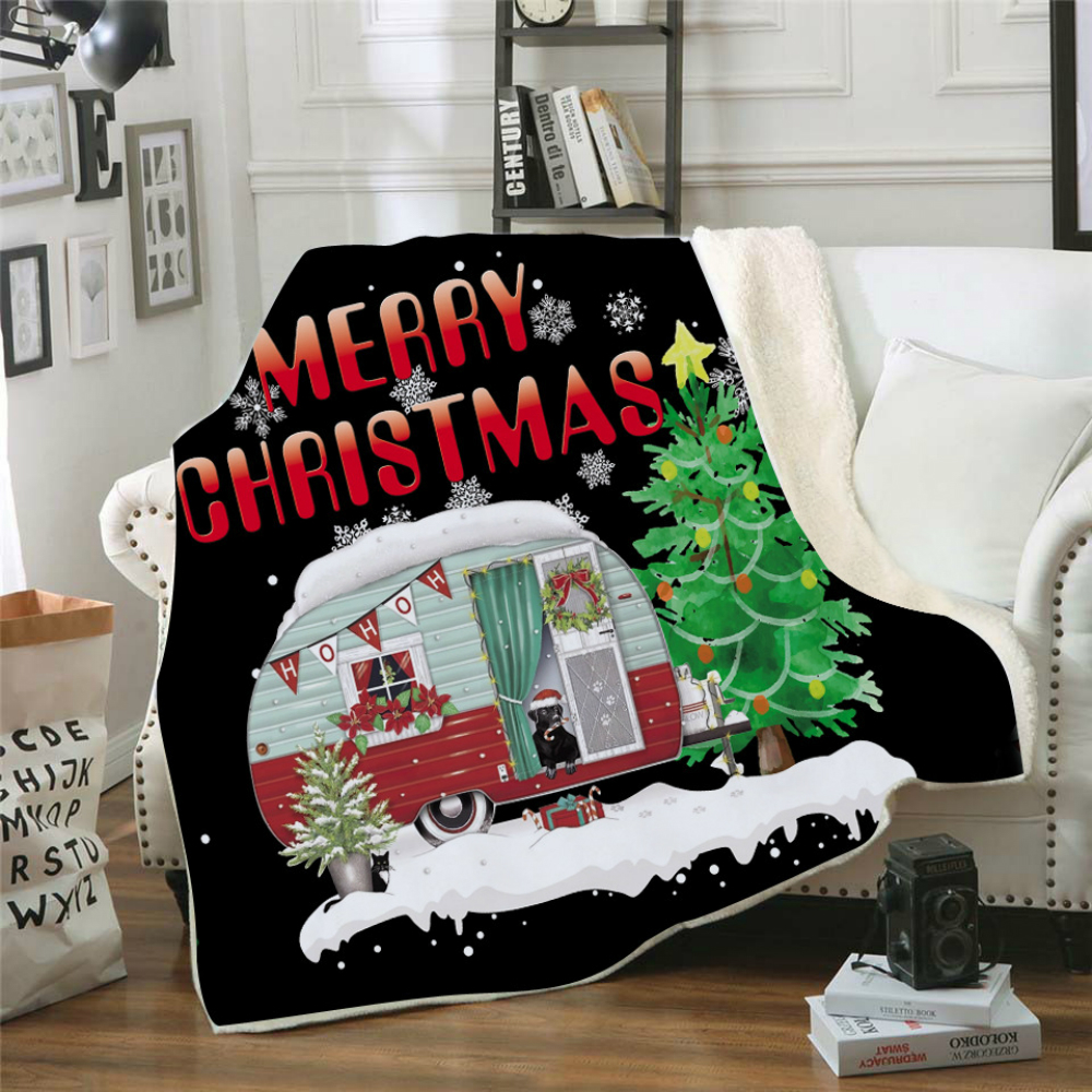 Drop Shipping Throw Blanket 3D Printed Christmas Velvet Plush Sherpa Fleece Blanket For Sofa Microfiber Couch Cover Bedspread in Blankets from Home Garden