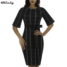 Oxiuly Womens Retro Vintage Plaid Striped Contrast Slim Bodycon Dresses Half Sleeve Casual Round Neck Pencil Midi Dress