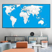 Modern Map Study Blue And White Wall Art Painting Canvas Print Poster Picture Abstract Art Poster Fashion Home Study Decoration