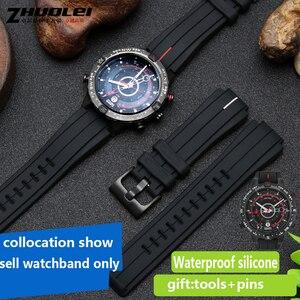 Image 4 - Bracelet de montre en caoutchouc haute quantité, 28x16mm, pour timex WATCHT2N720 T2N721 TW2T76300, noir, étanche en silicone