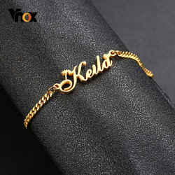 Vnox Personalize Name Chain Bracelets for Women Jewelry Gold and Color Stainless Steel Custom Gifts for Her
