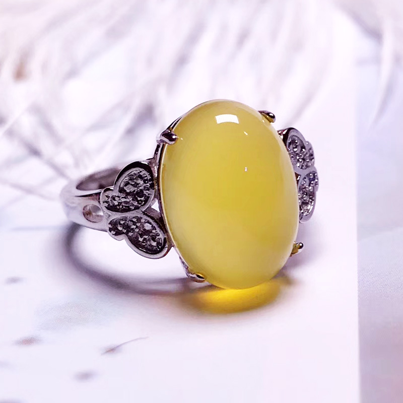 Jadery Silver Rings For Women Natural Yellow Chalcedony Jade Ring Topaz Gemstone Silver 925 Jewelry Gifts Christmas Joyas 2019