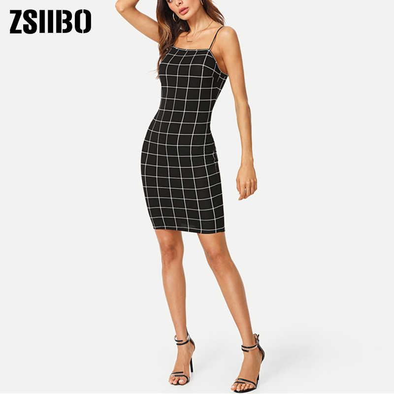 ZSIIBO mujer vestido casual verano Plaid bohemio partido Sexy Spaghetti vestido vintage dropshipping ropa de gran tamaño traje bf