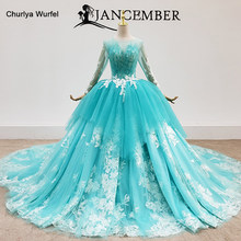 HTL1458 Abiti Stile Quinceanera Lace Up Back Sweet 16 abiti da Principessa Verde Manica Lunga Bordatura In Pizzo abiti da quinceaneras(China)