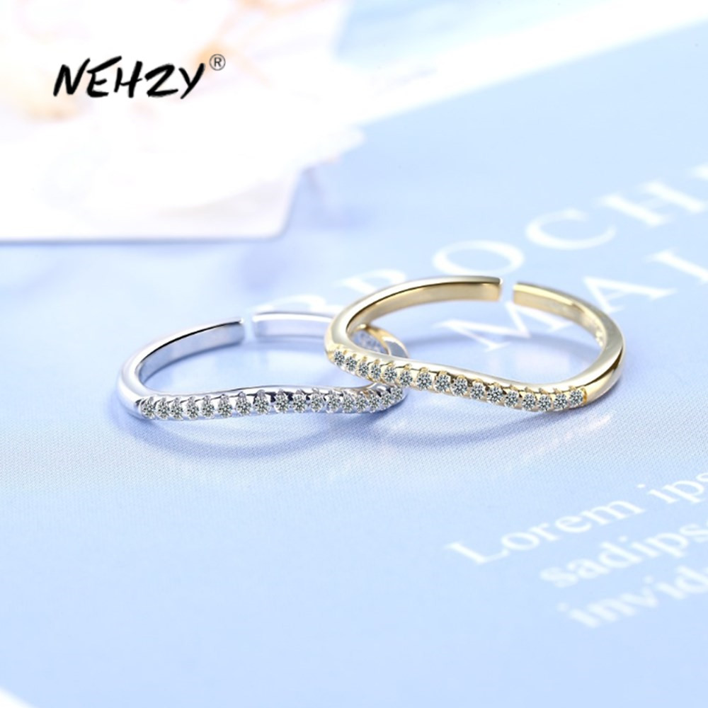 NEHZY 925 Sterling Silver New Woman Fashion Jewelry High Quality Retro Simple Curved Single Row Crystal Zircon Gold Silver Ring