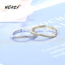 NEHZY-bague en argent Sterling 925 pour femmes, bijou de haute qualité, rétro, Simple, incurvée, cristal, Zircon or