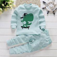 Kids Boys Girls Cotton Pajama Sets Cute Cartoon Print Long Sleeve O-Neck T-Shirt Tops with Pants Autumn Baby Girls Clothing Set