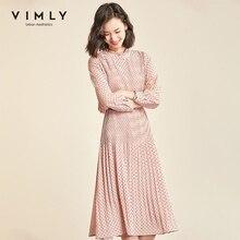 Vimly Polka Dot Women Dress Vintage O-neck Long Sleeve Pleated High Waist Blet Long Dresses Elegant Vestidos Female 98813