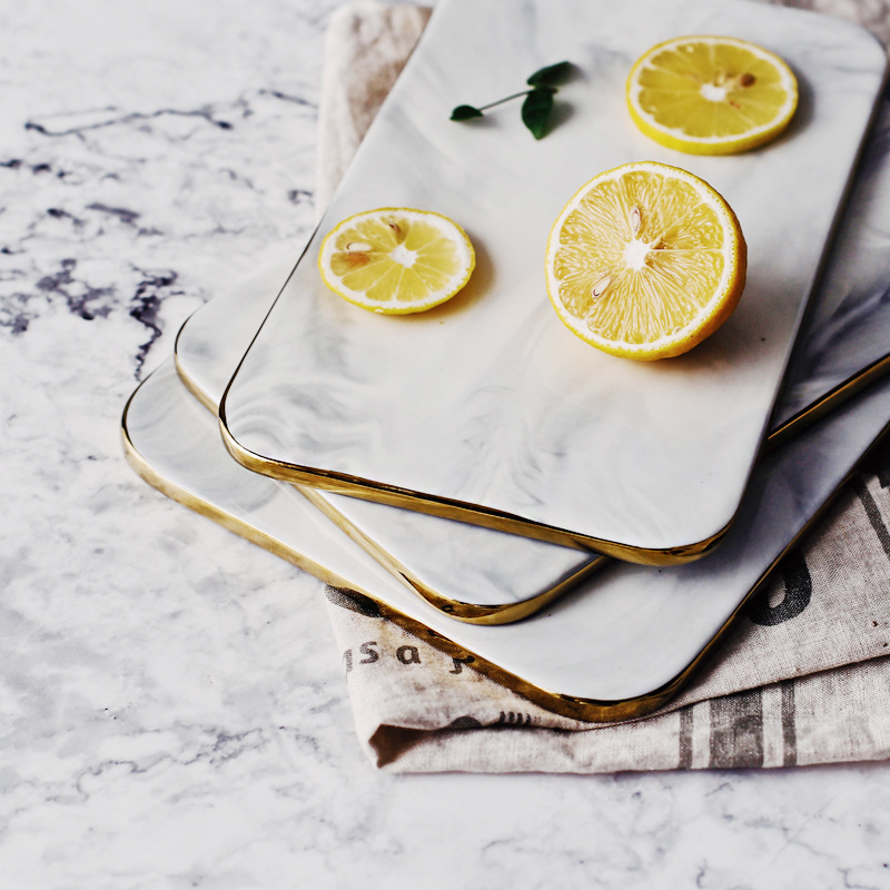 Plaques de marbre Style nordique Ins plaque incrustée d'or sushis plats Desserts plat à gâteau vaisselle de cuisine Pizza Peel plateau