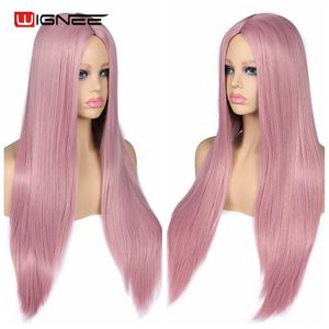 Image 4 - Wignee Pink Long Straight Hair Synthetic Wig For Women Hair Bundle With Closure Daily/Party Heat Resistant Glueless Hair Wigs