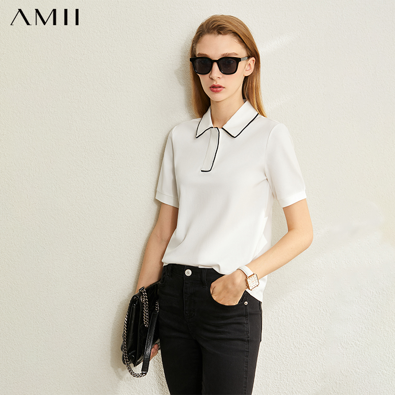 AMII Minimalism Spring Summer Solid Basic Polo Women Tshirt Causal Fashion Loose Female Polo Shirt Tops 12040395