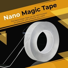 Traceless Washable Nano Magic Tape Reusable Double Sided Anti-Slip Gel Pads Removable Transparent Adhesive Seamless Strip
