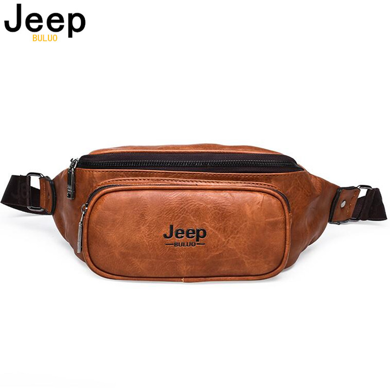 JEEP BULUO Waist Pack Bag Fanny Pack For Men&Women Leather Hip Bum Bag For Outdoors Workout Traveling Running Hiking Cycling