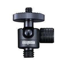 360 Điều Chỉnh Thông Minh Mini Bóng Đầu Camera 3 \ 8 1 \ 4 Hợp Kim Nhôm Ballheads DSLR 6Mm máy Chiếu 3 Chân Bi Đầu Kim Loại