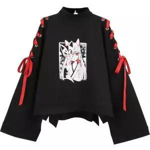 New Japanese Version Female Tops Tee Long Sleeve Harajuku Print T-shirt WomanLoose Casual Patchwort Cute Japan Kawaii Girls