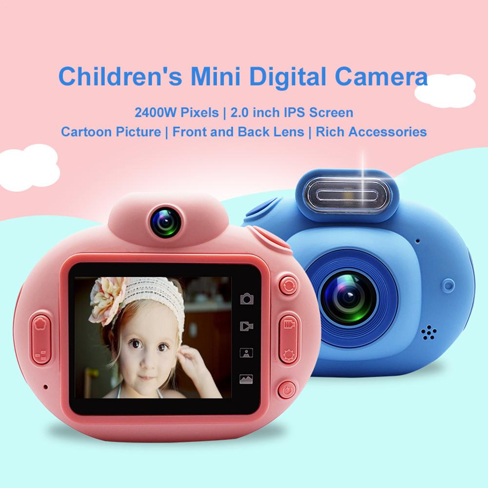 Childrens Mini Cartoon Digital Camera 1080P HD Video Recording Portable SLR HD Non-slip Soft Silicone Shell Toys For Children