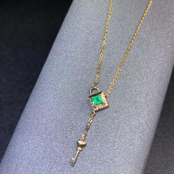 shilovem 18k yellow gold real Natural emerald Gemstone pendants plant women  necklace new Christmas Gift  dz09999933ml 2