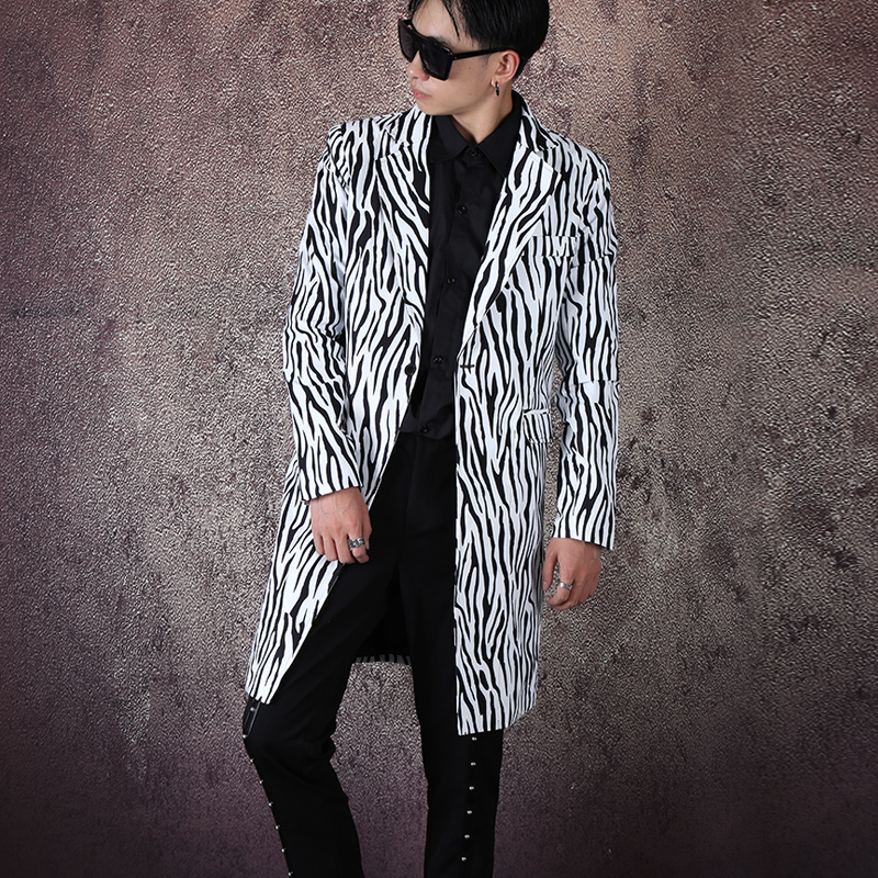 Streetwear Hip Hop Stage Show Suit Coat Outerwear Men Zebra Pattern Single Button Slim Fit Long Suit Jacket Blazer Coat Male