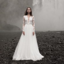 Verngo A-line Wedding Dress Boho Wedding Dress Appliques Lace Wedding Gowns Elegant V-back Bride Dress Long Sleeve Gelinlik