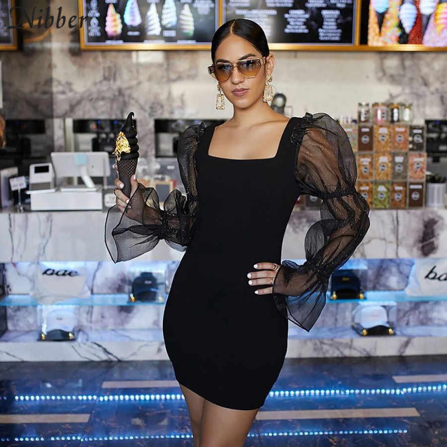 Nibber/осеннее черное Сетчатое Прозрачное мини-платье для женщин из чистого куска, Сексуальные клубные вечерние платья для ночного бедра mujer, элегантное облегающее платье