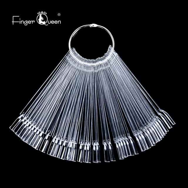 Fake nails 50Pcs Fan-shaped Nail Display Sticks Polish Board Nail Polish Practice  Art Tips with Metal Split Ring Color Card 6