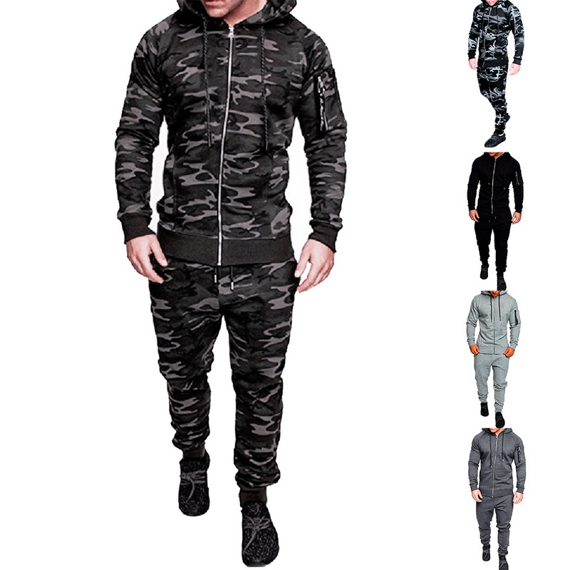 Mens Tracksuit Top Pants Suit Set Hoodie Trouse RMale Camouflage Jacket Suit 2Pc Muscle Men Workout Track Suit