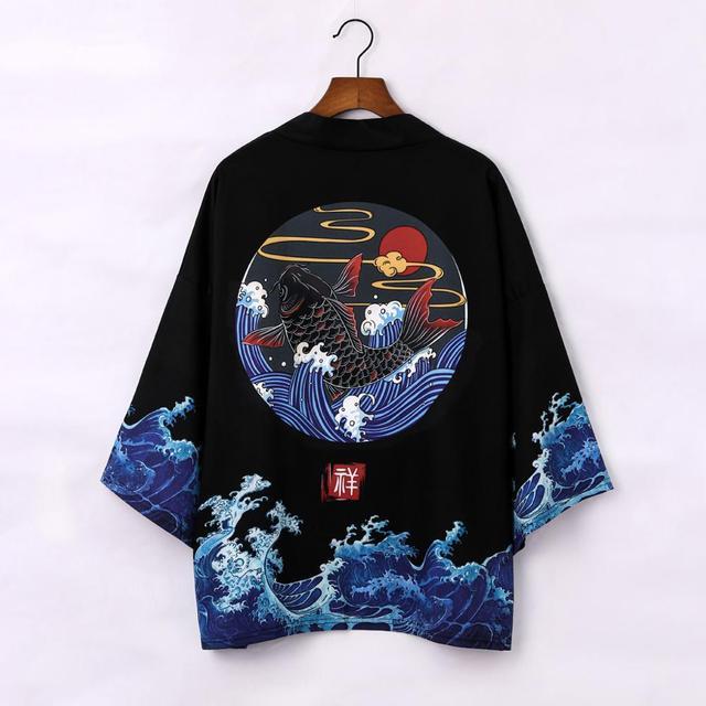 Japońskie Kimono kardigan mężczyźni lato nowy Haori samuraj Kimonos Karate Streetwear koszula Kimono japons mężczyzna Haori Yukata