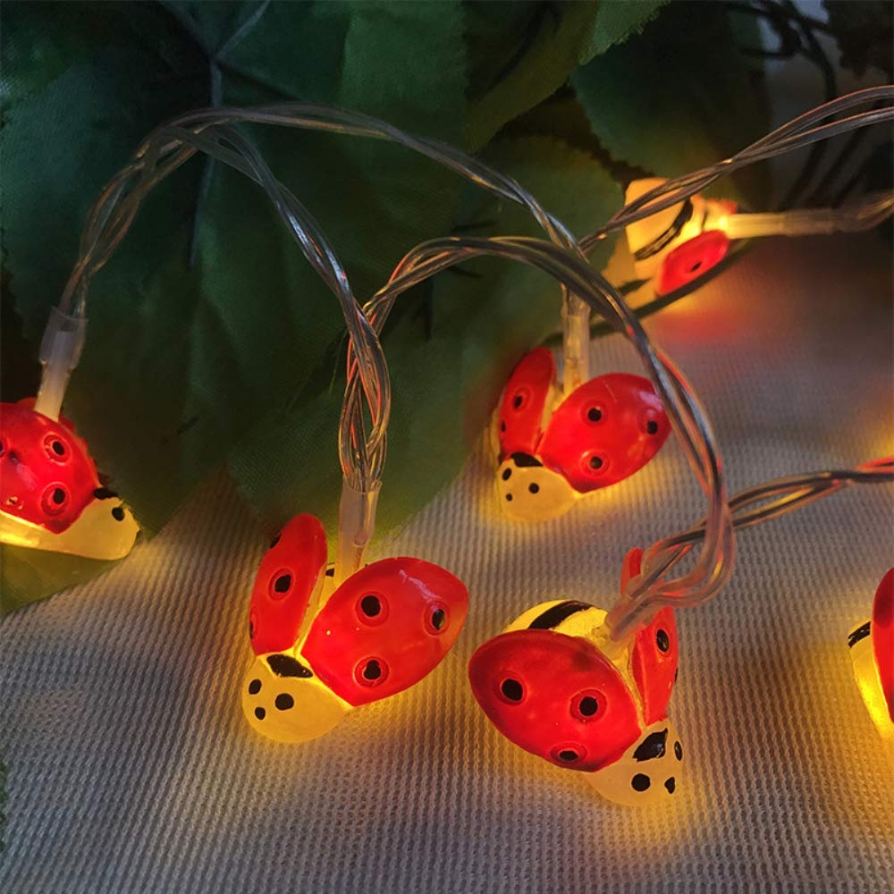 10/20/35 LED Ladybug Shape String Lights Battery Holiday Wedding Christmas Decoration Lamp For Home Balcony Courtyard Garden