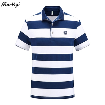 цена на MarKyi 2020 summer luxury men polo shirts casual 100% cotton short sleeve striped polo brand polo men t shirt