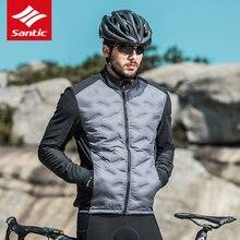 サンティックメンズサイクリングジャケット冬の熱フリース mtb ロードバイクジャケット長袖防風保温アウトドアスポーツ衣料品