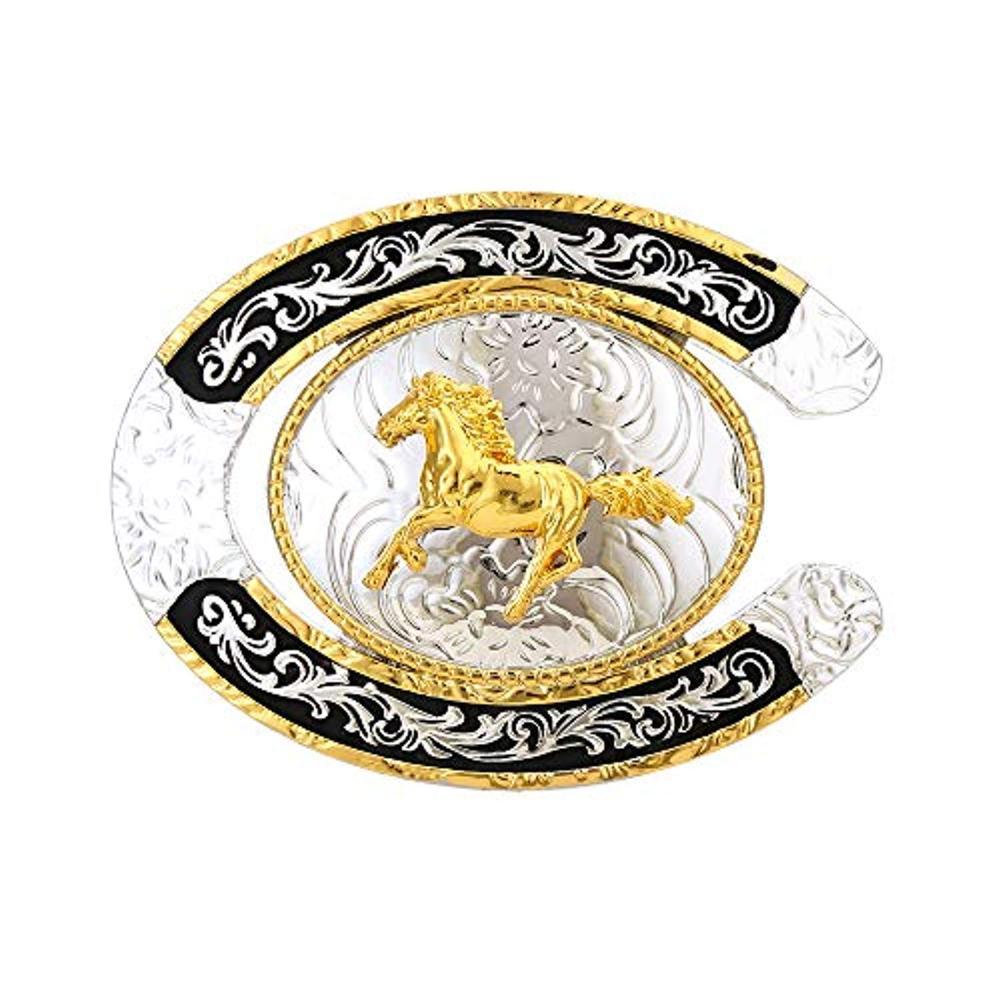 U Shape Gold Running Horse  Buckle For Man Western Cowboy Buckle Without Belt Custom Alloy Width 4cm