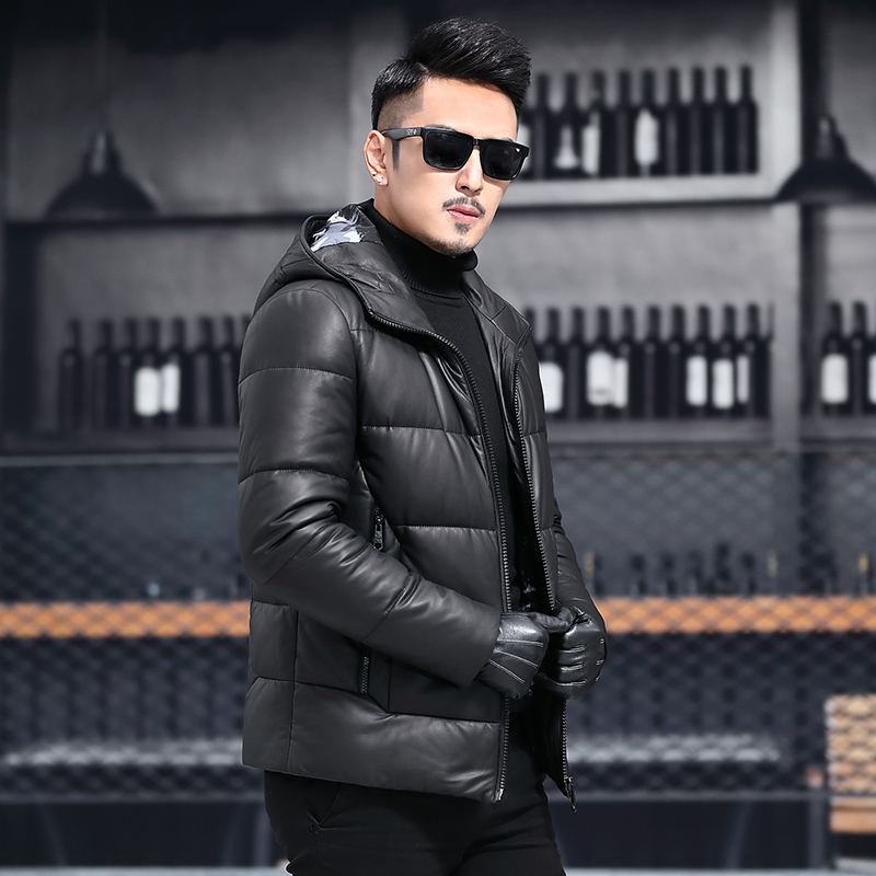 Genuine Leather Jacket Sheepskin Real Leather Jacket Men Slim Duck Down Winter Coat Men Jaqueta De Couro MA8201XF603 YY1121