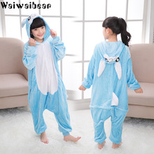 Hot Sale Flannel Winter Kids Pajamas  Unicorn Cartoon Animals Hooded Sleepwear For Boys And Girls