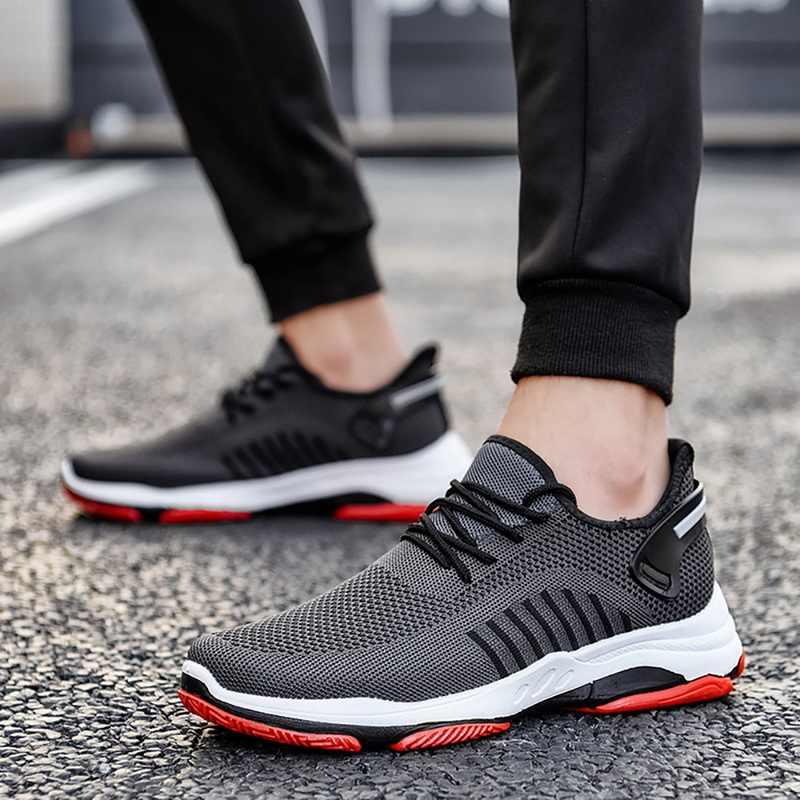 Nieuwe Mode Man Sneakers Lace Up Vulcaniseer Running Mannelijke Schoenen Ademende Comfor Mesh Ondiepe Flats Casual Jongen Schoenen